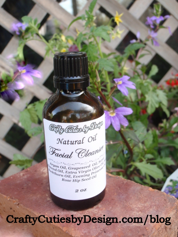 Facial Oil Cleanser with purple flowers
